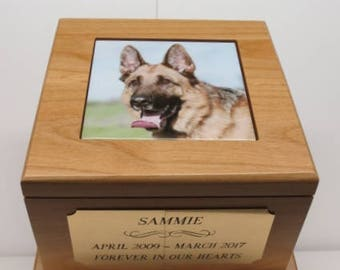 Dog Urn Pet Urn Memorial with Custom Tile Photo and Engraved Brass Tag Beautiful Red Alder Large 80 lbs