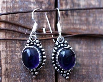 White moonstone earring,Amethyst earrings,Tibetan earrings,Moonstone,Silver tone earrings,Tibetan jewelry,Dark purple earrings,Gypsy earring