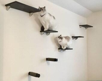 Beau 7pc Cat Wall Shelf Set (2 Cat Shelves, 3 Cat Steps U0026 2 Cat Post Steps) |  Ultra Modern Cat Climbing Wall Bed Perch Furniture