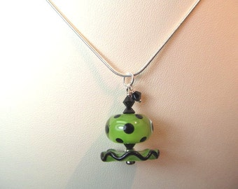 Necklace green and black ruffle & polka dot glass lampwork beads with black crystals