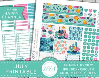 Happy Planner July Kit, July Monthly Spread, Happy Planner July Stickers, Monthly Printable Kit, Beach Monthly Stickers, HPMV125