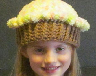 Crochet Cupcake Hat ~ Size small ~ light orange, yellow, green and white top with medium brown bottom