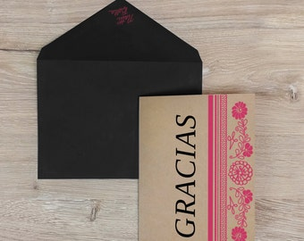 Gracias Thank You Card -  Screen Printed w/ Mexican Floral, Heritage Charro Design & Fuchsia and Black Ink