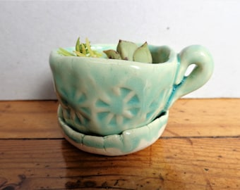 Tiny ceramic turquoise cup planter pot with dripping plate handmade rustic dot stamped pottery succulent air plant planter home garden decor