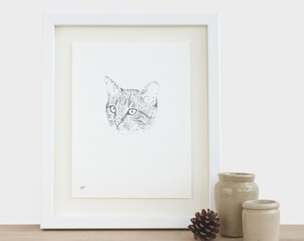 Cat Drawing Original Bespoke Cat Drawing Pet Portrait Kitten Drawing Pet Drawing Cat Illustration Cute Pet Portrait Cat Line Drawing