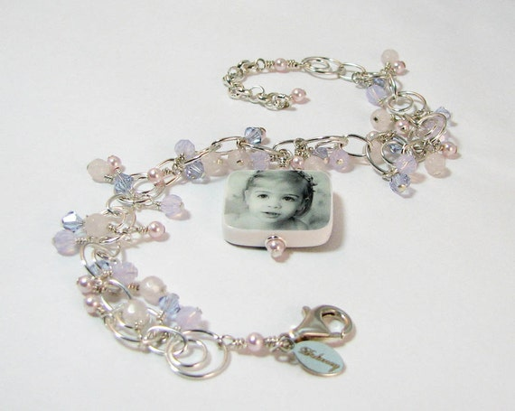 Custom Photo Charm Bracelet with dangles of crystals, pearls & Rose Quartz   - P3RB6a