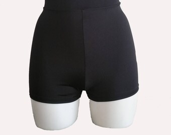 High Waisted Booty Shorts, Plain Lycra - Pole - Aerial - Dance - Rave - Club - Plus size available -