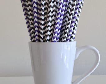 Purple and Black Chevron Paper Straws Party Supplies Party Decor Bar Cart Cake Pop Sticks Mason Jar Straws  Party Graduation