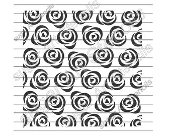 Roses heart cookie stencil background ST00168