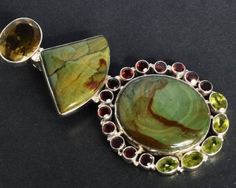 Natural Wild Horse Jasper Gemstone Pendant, Peridot, Garnet, Citrine, 925 Solid Sterling Silver, Handmade Jewellery, Gifts For Women FSJ-439