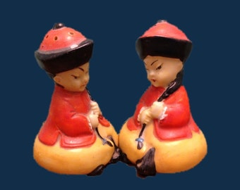 Chinese Salt Pepper Shakers Figural Asian Kids