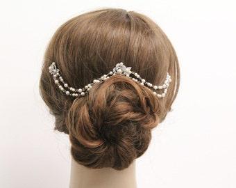 wedding hair chain pearl bridal hair chain wedding hair accessories bridal hair jewelry wedding headpiece bridal hair piece pearl hair chain