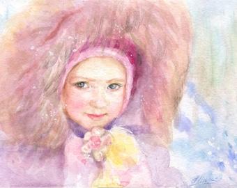 Children's portrait, Child portrait, Personalized portrait, Watercolor portrait, Portrait from photo, Bithday gift