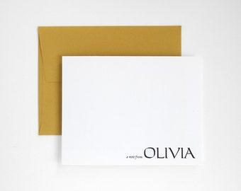 HAWTHORN Bold Modern Letterpress Stationery Set - Personalized Flat Note Cards - Greenhouse