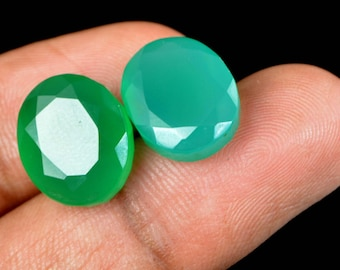 15.80 Ct Natural Oval Cut Green Onyx Emerald Loose Gemstone Matching Pair Christmas Gift