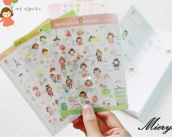 Coco Girl Sticker Set - Korean Stickers - Deco Stickers - Diary Sticker - Masking Sticker - 6 sheets