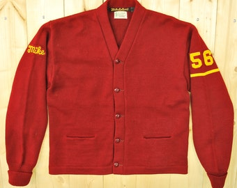 Vintage 1950's/60's Wool Red VARSITY LETTERMAN Sweater / Octonek Letterman Sweaters / Retro Collectable Rare