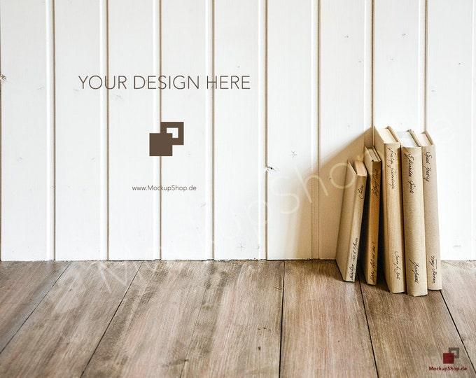 BOOKS MOCKUP BACKGROUND // white wall wooden background // mockup wooden background nordic / Instand Download / Mockup Scandinavian wooden