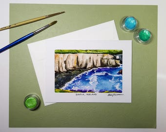 Dingle Ireland Greeting Card, Irish Cliffs of Moher Painting, Travel Note Card, Europe Art Card, Watercolor Birthday Card, Handmade Card