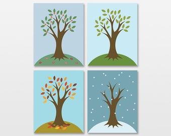 Nursery Tree Art Print Set, Seasons Trees Wall Art, Nursery Tree Decor, Baby Room Tree Artwork, Kids Tree Art, Fall Tree, Changing Seasons