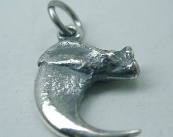 Small Bobcat Claw Pendant with two Loops, Sterling Silver