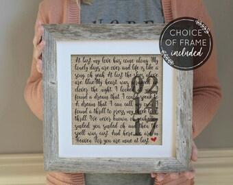 Framed Wedding Song Lyrics | 1 Year Anniversary gift | Gift for Her | Gift for Him | Song Lyric Art | Wedding Gift | Valentines Day Gift
