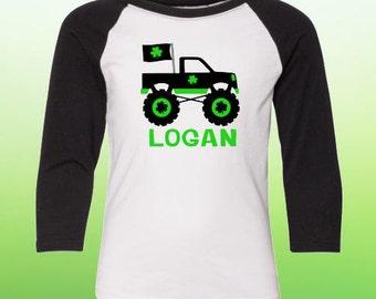 Baby St Patricks Day Shirt, Baby Shamrock Shirt, Baby St Pattys Day Shirt, Baby St Patrick Day Truck Shirt, Baby Personalized St Patty Shirt
