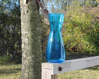 vintage BLENKO vase mid century modern BLUE art glass retro eames era wedding gift party