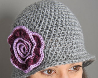 Crochet Pattern - Brimmed Hat with Swirl Flower (Teen/Ladies) - Immediate PDF Download
