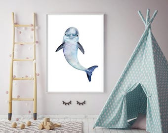 Baby dolphin Art - baby dolphin watercolor painting - print - Nursery sea animals - ocean art - dolphin painting  blue decor whale art