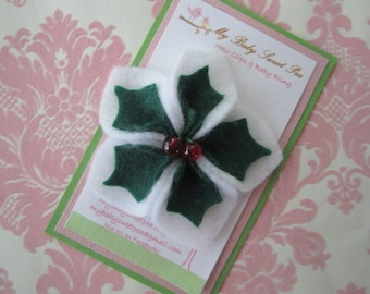 Girl hair clips - Christmas hair clips - girl barrettes - holly hair clips