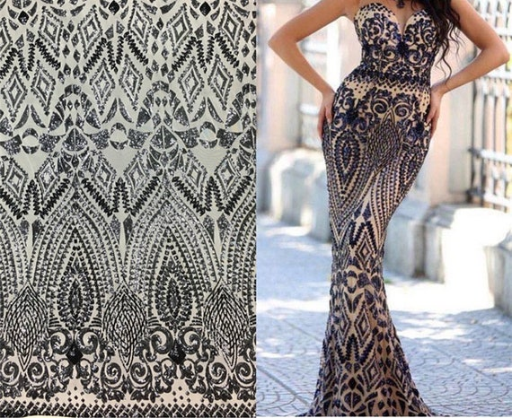 Floral Embroidery Lace Fabric By the Yard/Prom Dress Fabric/Boho ...
