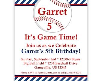 Baseball Invitation - Blue Striped Baseball Ball Personalized Birthday Party Invite - a Digital Printable File