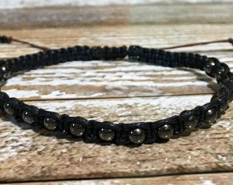 Mens Bracelet / Beaded Bracelet / Hematite Bracelet / Hematite Jewelry / Unisex Bracelet / Healing Bracelet