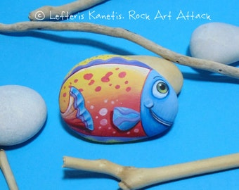 Hand Painted Pebble Happy Colorful fish Fridge Magnet! Painted with high quality Acrylic paints and finished with Glossy varnish protection.
