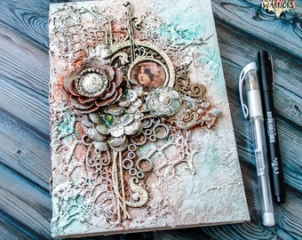 Steampunk journal - Notebook - Vintage journal - Diary - Handmade book - Memory book - Art Nouveau - Gift for her - A5 notebook