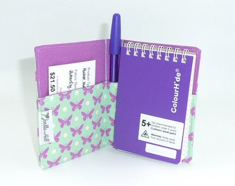 """Pocket Sized Notebook with fabric cover. Small gift in """"Butterfly Dot"""" by Joella Hill Australian Seller"""