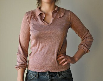 Dusty pink metallic blouse
