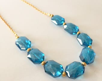 Aqua Blue Crystal and Gold Chunky Statement Necklace