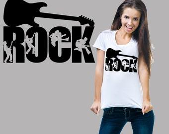 Rock T-Shirt Rock Music Guitar Tshirt Shirt Ladies Tee Woman Top