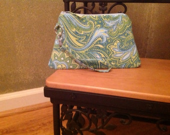 Paisley ~ Blue and Green ~ Raegan Wristlet Free Shipping in the US