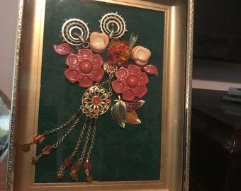 Framed jewelrd flower box art in shadow box