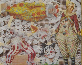 England Vintage Victorian Circus Clowns Lithographed Die Cut Paper Scraps A 101 Out Of Print