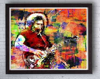 Grateful Dead, Jerry Garcia, Jerry Garcia Art, Grateful Dead Prints, Hippie Art, Hippies, Grateful Dead Poster, Jerry Garcia Print Posters