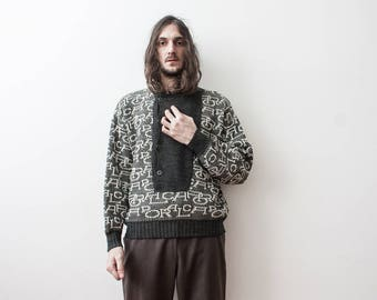 Knitted Sweater 60s Pull Over Jumper Slouchy Hand Knitted Wool Spring Sweater Pull Tricot Homme The Penduline Fisherman Cable Sweater