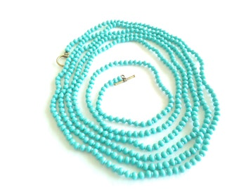 Long Turquoise  Wrap Necklace Extra Long Wrap Necklace Turquoise Green Necklace Beaded Necklace Layering Choker Seed Bead Turquoise Jewelry