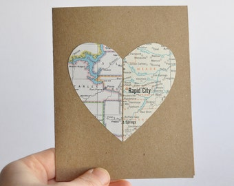 Personalized Card Long Distance Relationship Card Map Heart in Two Places