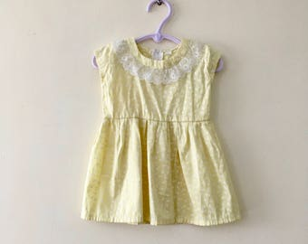 Vintage Yellow Floral Baby Dress - Size 18-24m