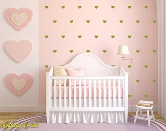 Gold Hearts Wall Decor Decals - Heart Decal Set - Pattern Decals - Nursery room decor - Heart Wall Decals - Gold Heart wall decor