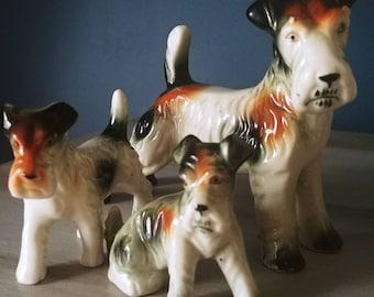 Vintage Wire Fox Terriers Ceramic Figurines Set of 3